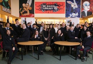 Students, staff and PM Group representatives at Old Bawn Community School, Tallaght, Dublin